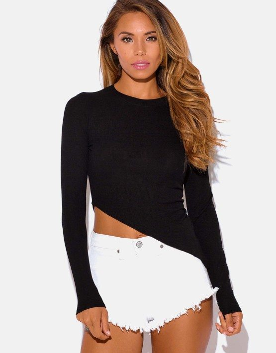 black-ribbed-long-sleeve-asymmetrical-fitted-tee-shirt-crop-top__2