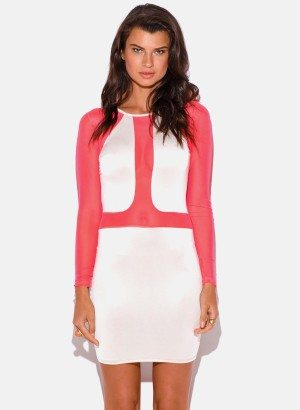 ivory-neon-pink-mesh-inset-fitted-color-block-clubbing-mini-dress-97590__0