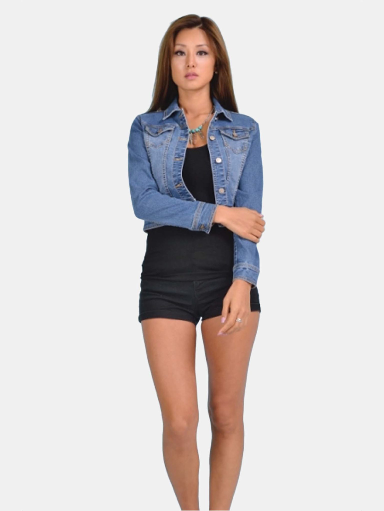 Denim Cropped Jean Jacket Modishonline Com