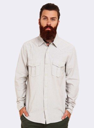 SILVER JEANS CO LONG SLEEVE PINSTRIPE BUTTON UP