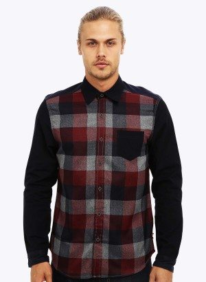 FRESH BRAND LONG SLEEVE PLAID BUTTON UP