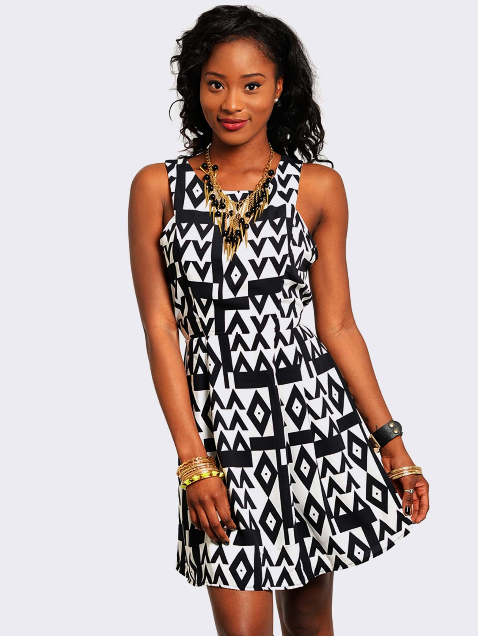 Be the first to review sleeveless modern print dress cancel