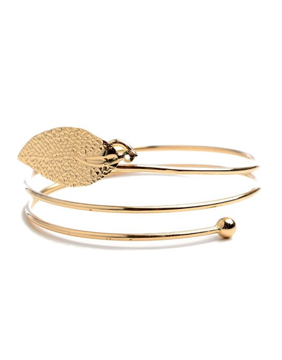 GOLD TONE METAL LEAF BRACELET