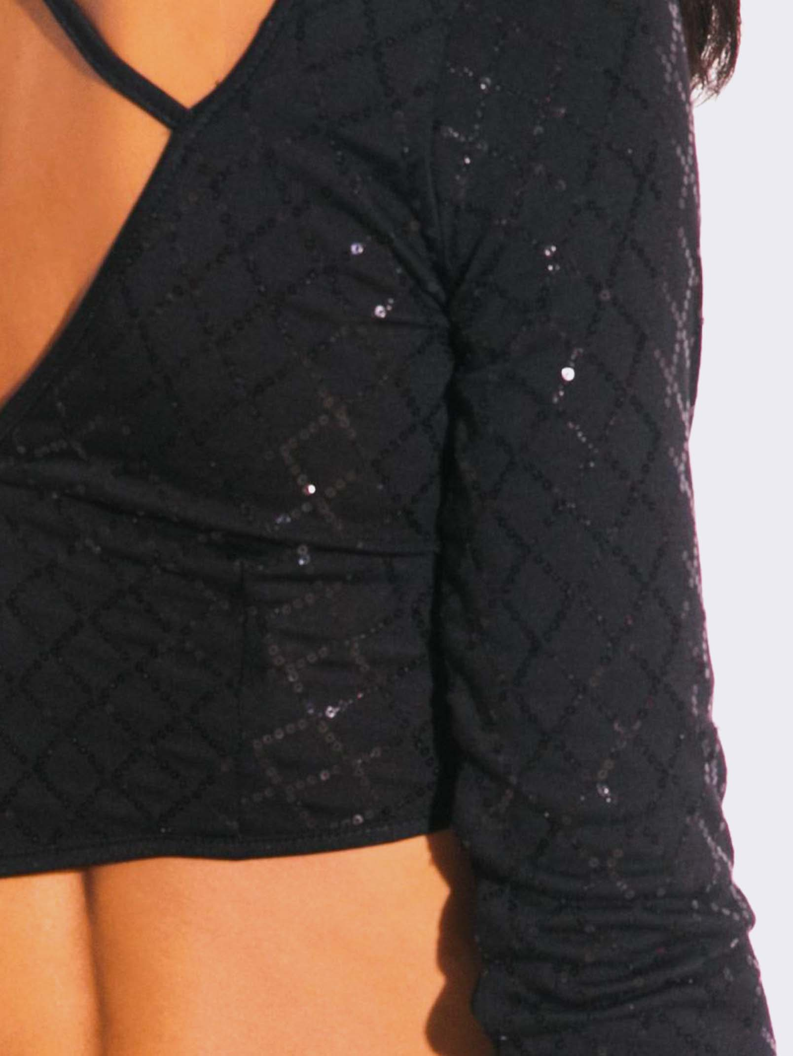 BLACK SEQUINED TWO PIECE DRESS
