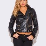 WOMENS BLACK FAUX FUR COLLAR VEGAN LEATHER BIKER JACKET