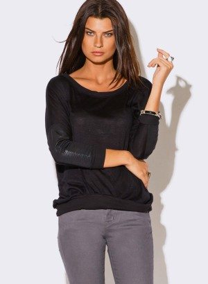BLACK LONG SLEEVE RIBBED SLUB TOP