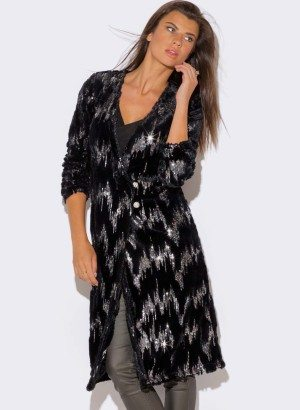 BLACK SEQUINED FAUX FUR DUSTER COAT