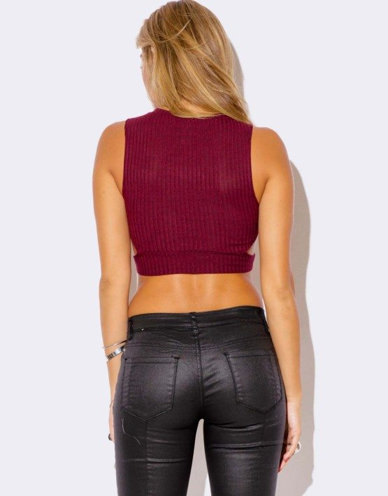 BURGUNDY CUT OUT CROP TOP