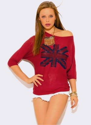 BURGUNDY UK GRAPHIC DOLMAN SLEEVE SWEATER TOP