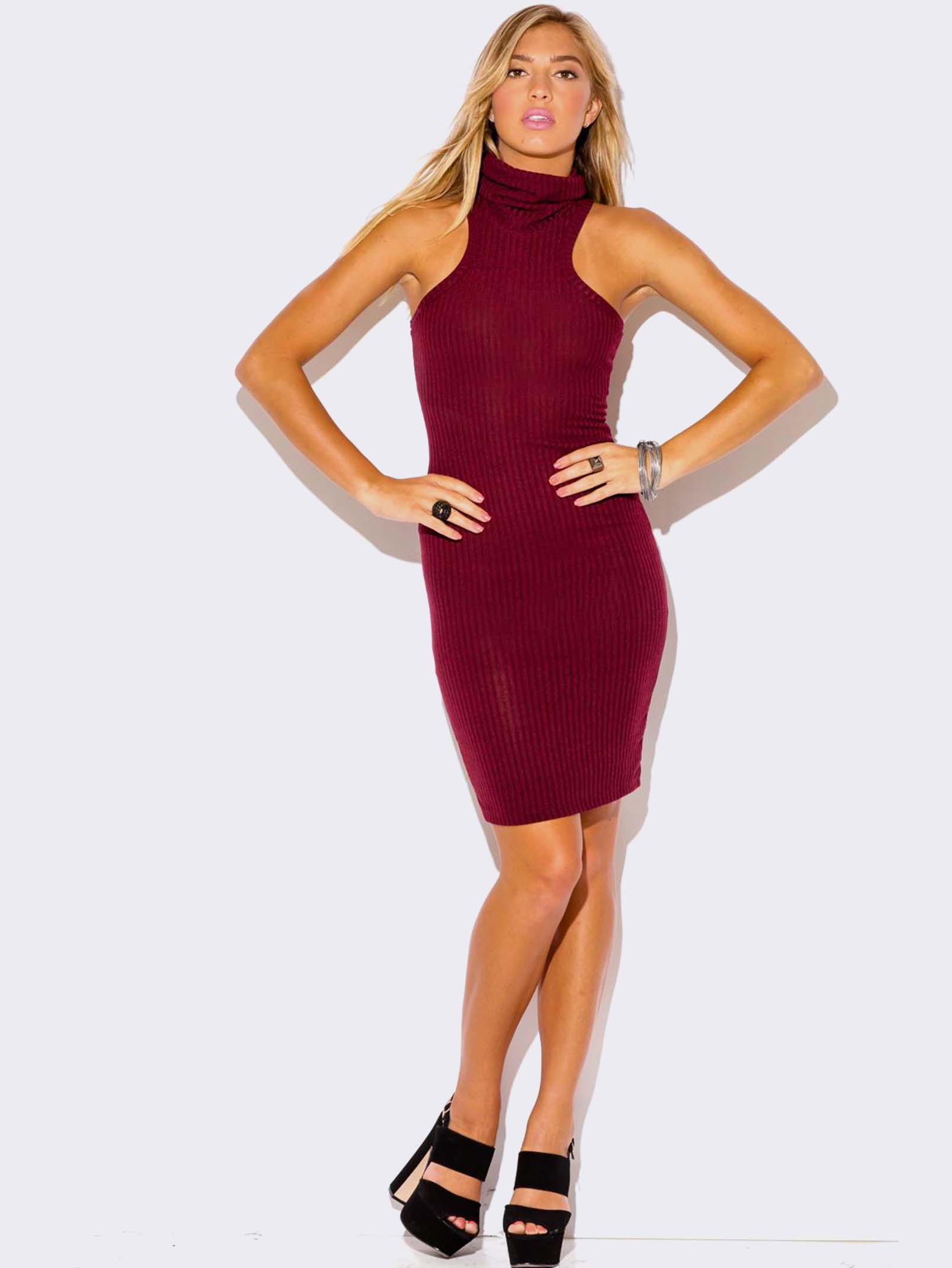 Burgundy Turtleneck Sweater Dress Modishonline Com