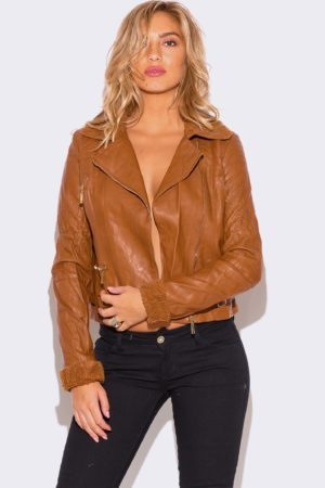 WOMENS CARAMEL BROWN FAUX FUR COLLAR VEGAN LEATHER BIKER JACKET