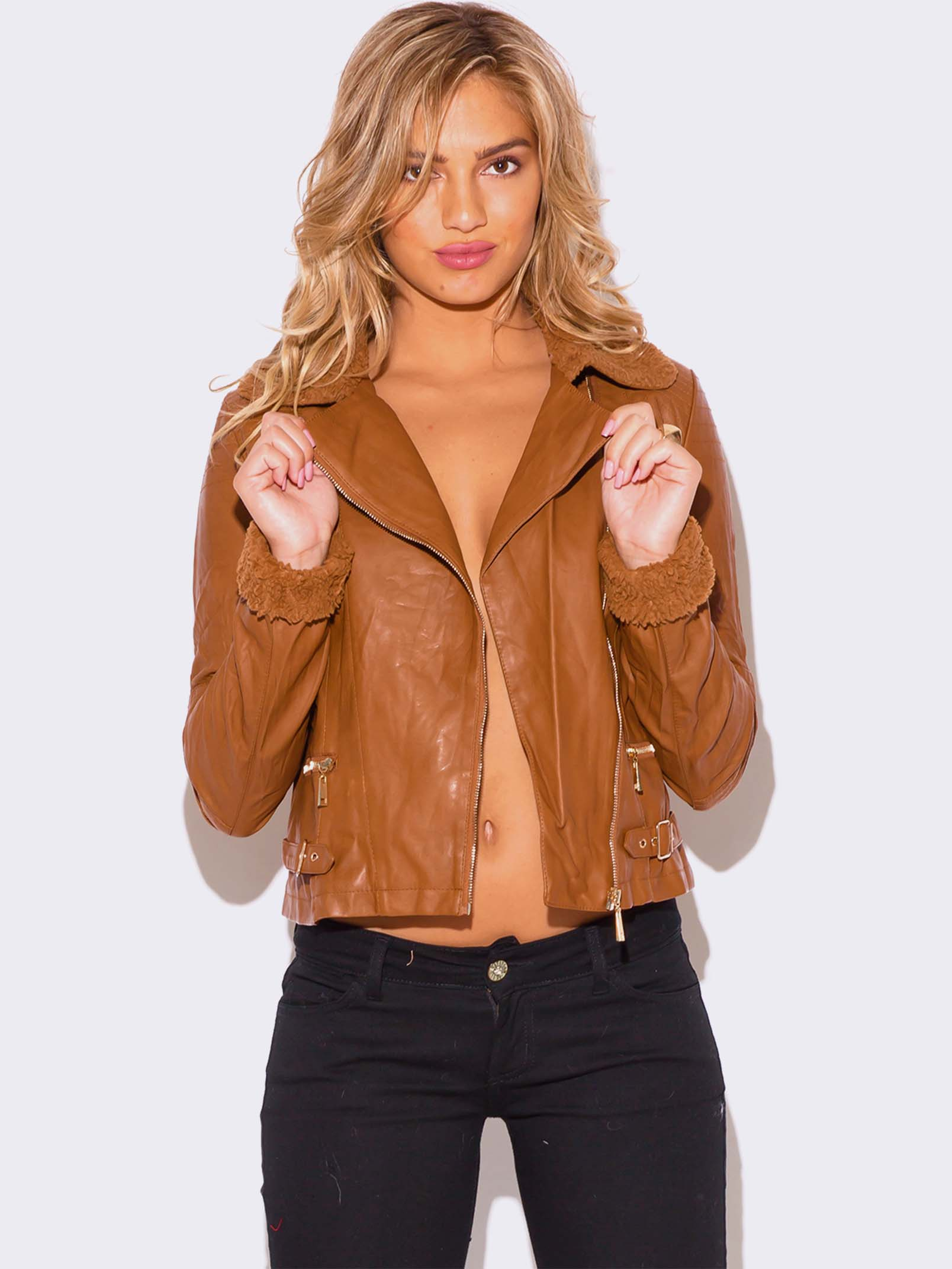 Images of Brown Faux Leather Jacket Womens - Reikian