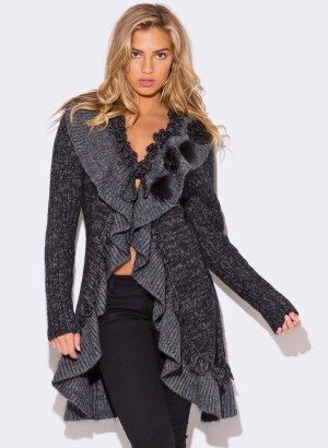 CHARCOAL GRAY WOOL MOHAIR BLEND SWEATER COAT