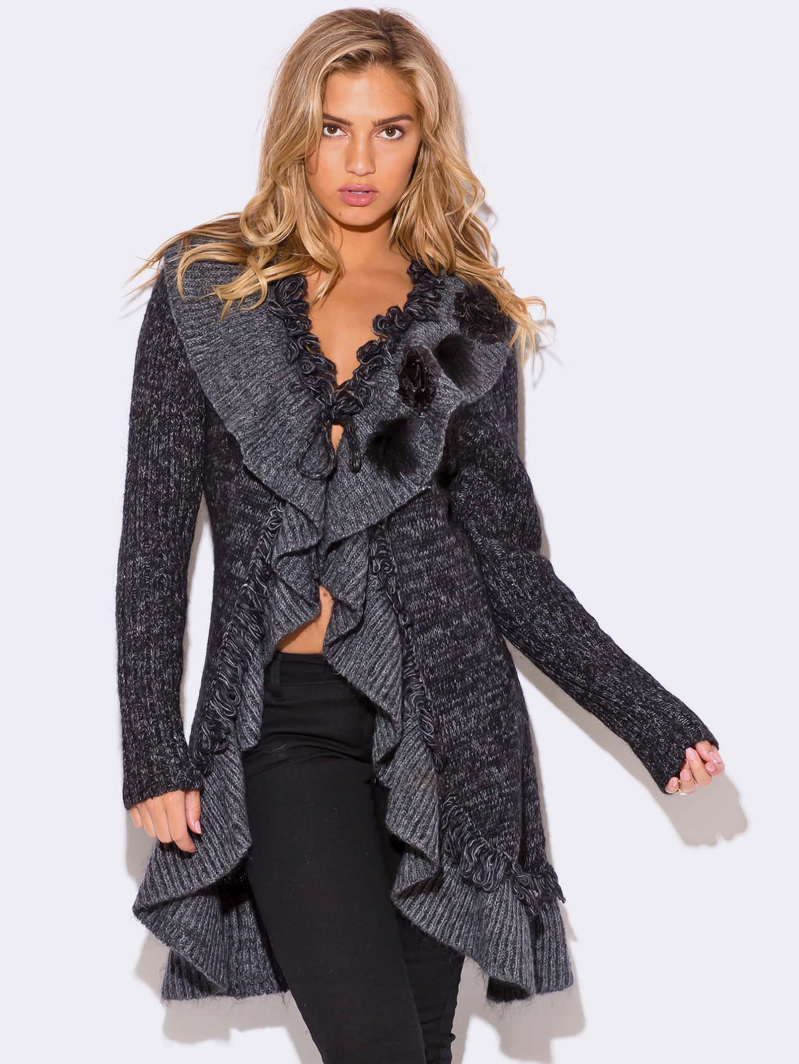 CHARCOAL GRAY WOOL MOHAIR BLEND SWEATER COAT ...