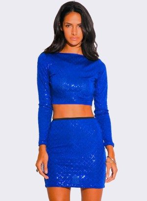 ROYAL BLUE SEQUINED TWO PIECE DRESS