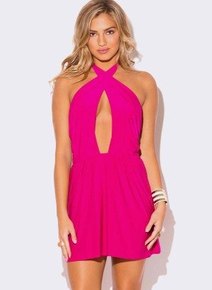 FUCHSIA HOT PINK WRAP FRONT HALTER MINI DRESS