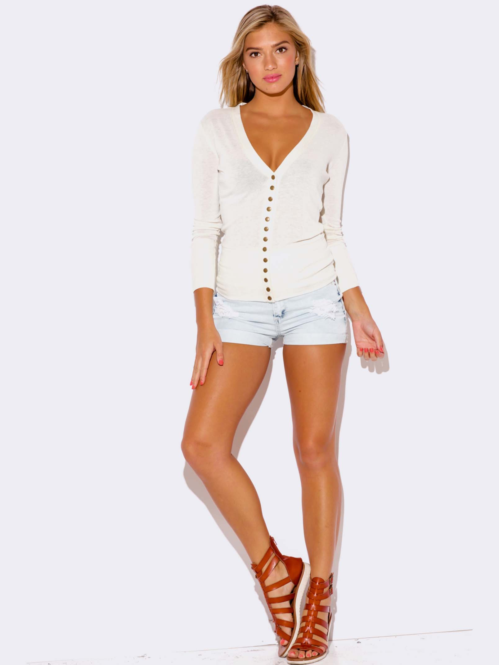 White Cardigan Sweater Modishonline Com