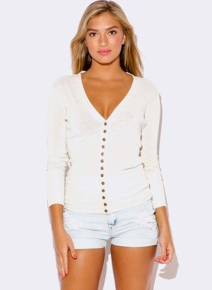 WHITE CARDIGAN SWEATER