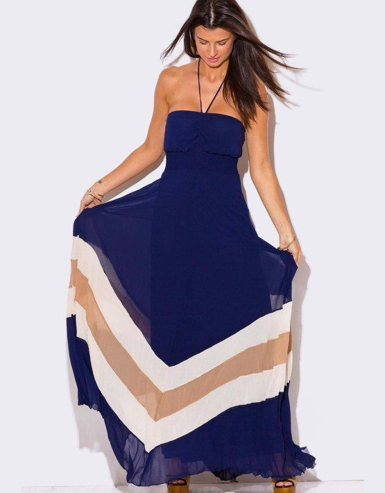 CHIFFON PLEATED HALTER MAXI DRESS