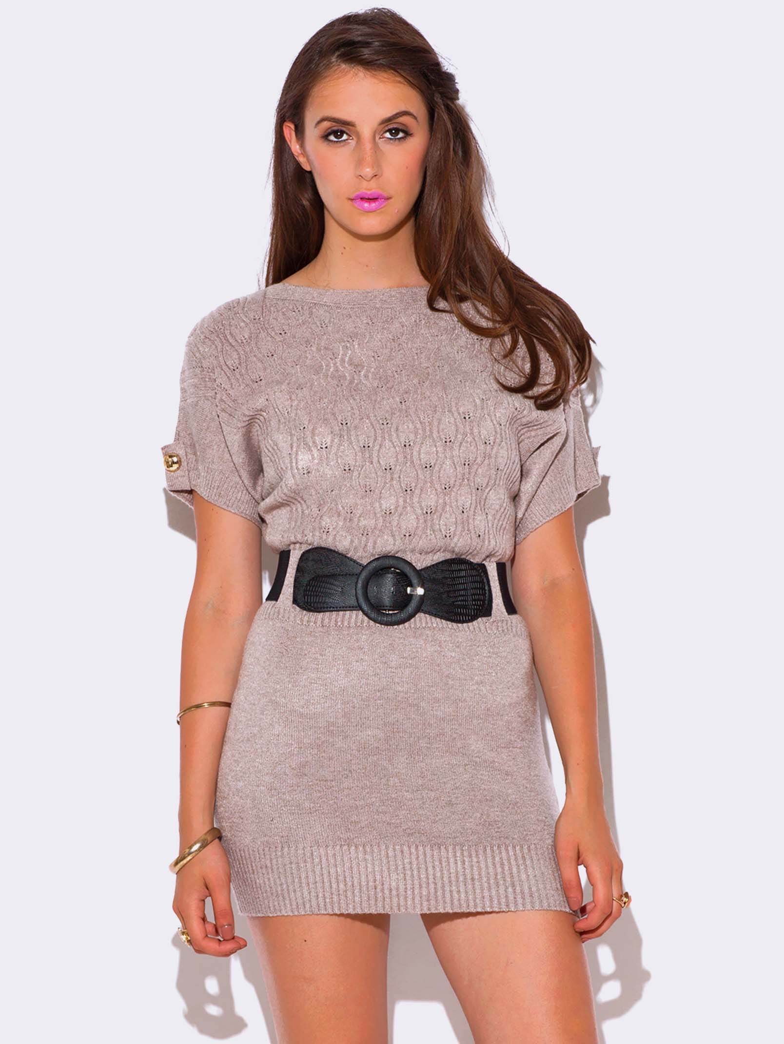 BEIGE CABLE KNIT DOLMAN SLEEVE SWEATER DRESS - ModishOnline.com