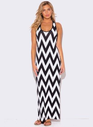 WOMEN'S PLUS SIZE CHEVRON PRINT RACER BACK MAXI DRESS