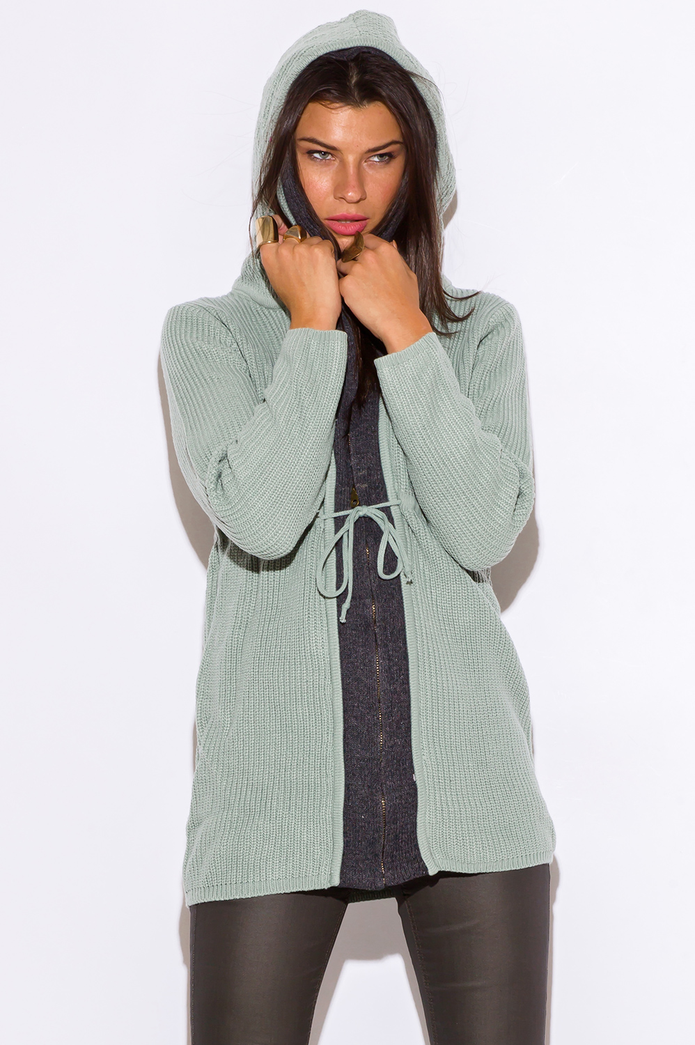 SAGE GREEN ZIP UP HOODED SWEATER