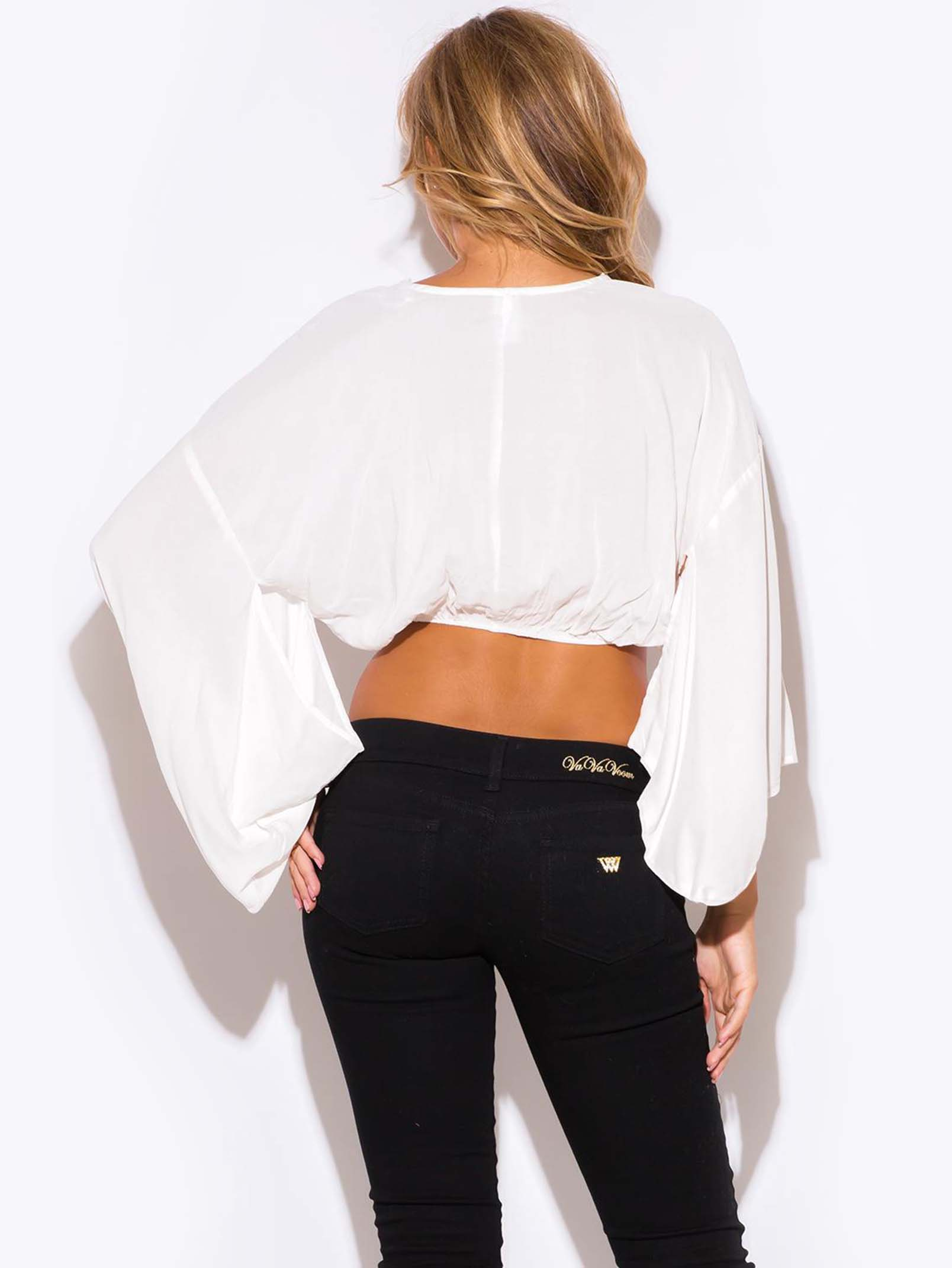 White V Neck Kimono Sleeve Crop Top Modishonline Com