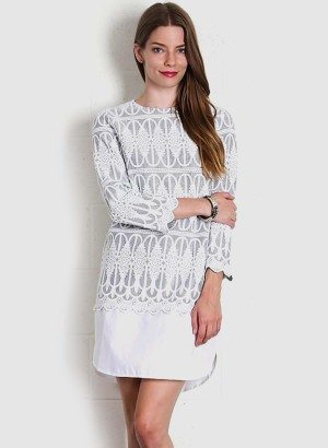AZTEC EMBROIDERED DRESS HEATHER GREY