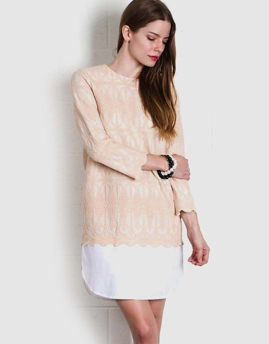 AZTEC EMBROIDERED DRESS NUDE