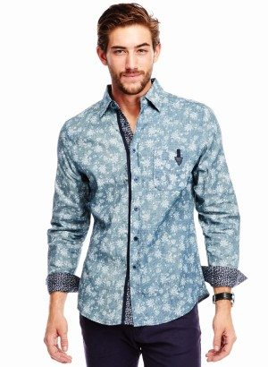 DENIM CORDUROY FLORAL PRINT BUTTON-UP