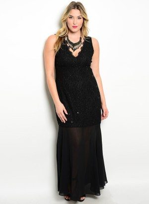Black Plus Size Lace Sheer Evening Dress