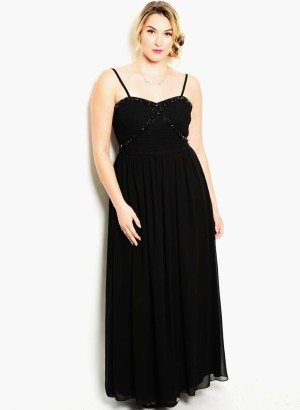 Black Plus Size Embellished Evening Dress