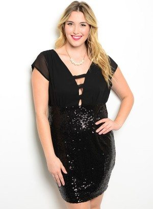 Black Plus Size Sequin Cocktail Dress