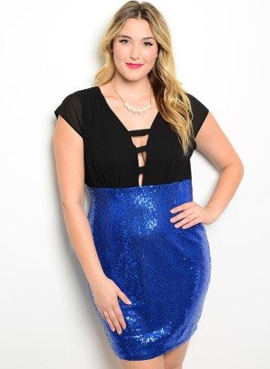 Black Royal Plus Size Sequin Cocktail Dress