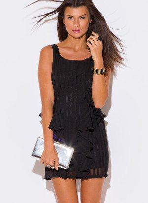 BLACK RUFFLE PEPLUM COCKTAIL DRESS