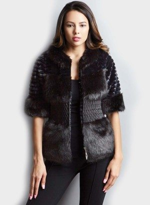 Black Short Sleeve Faux Fur Jacket