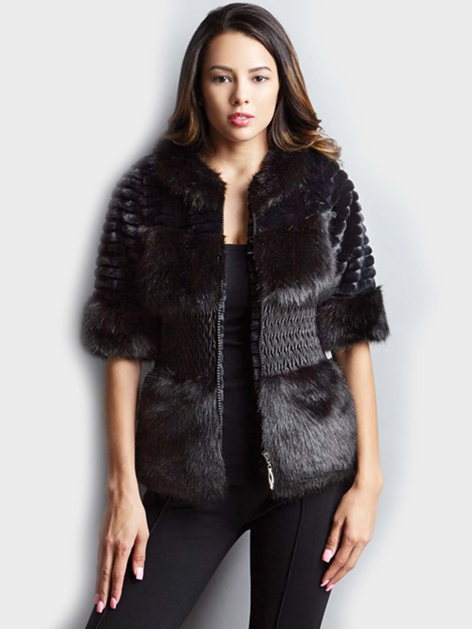 Black Short Fake Fur Coat - Tradingbasis