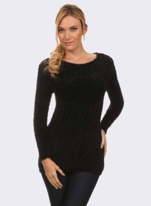BLACK TEXTURED KNIT SWEATER