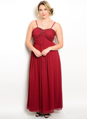 Burgundy Plus Size Embellished Evening Dress