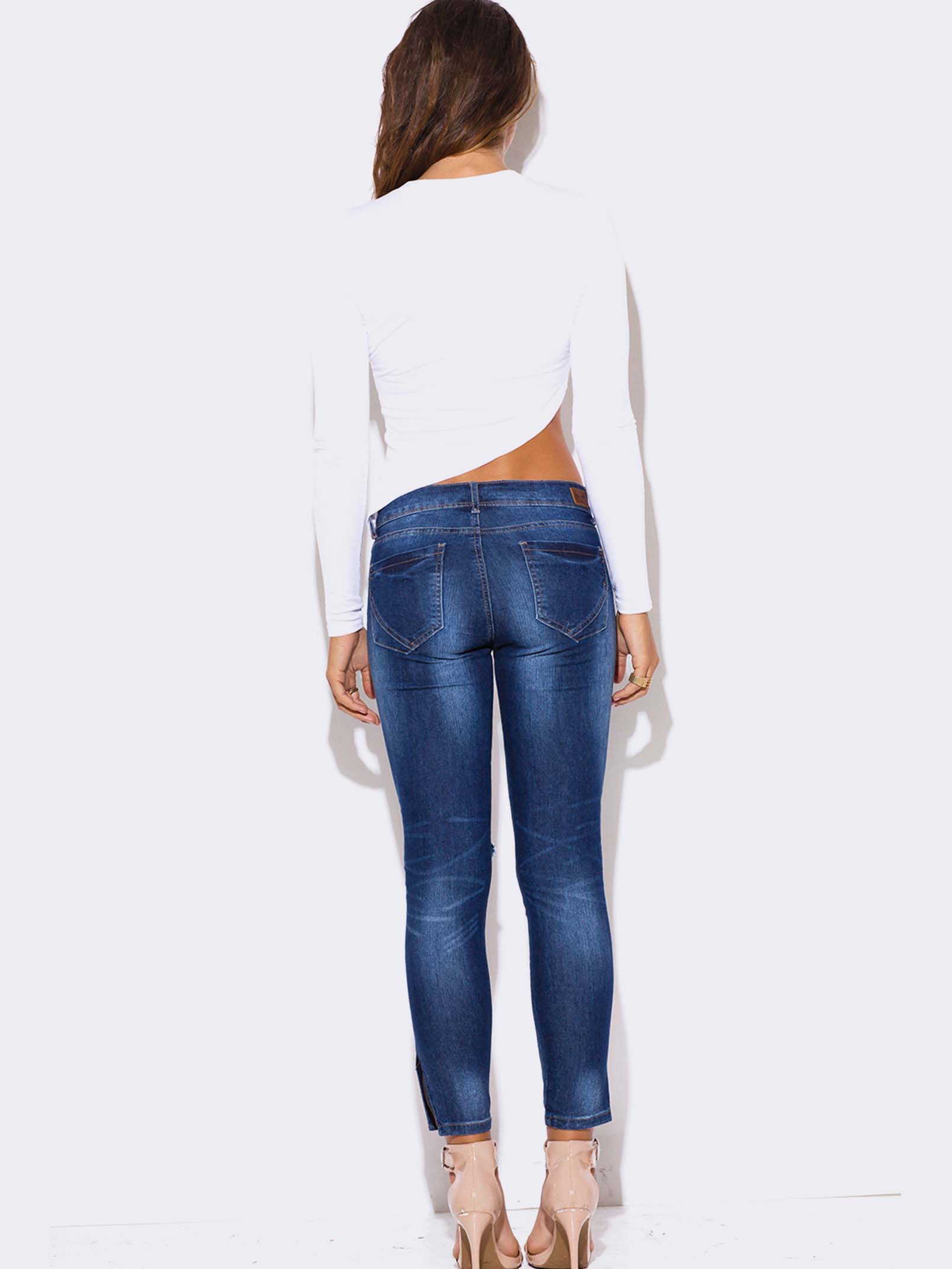 BLUE DENIM RIPPED CROPPED SKINNY JEANS
