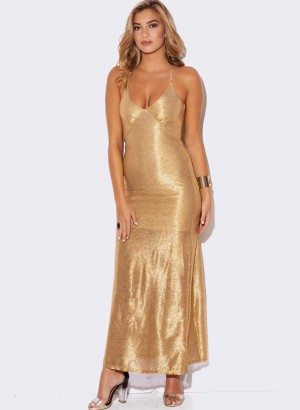 GOLD METALLIC EVENING DRESS