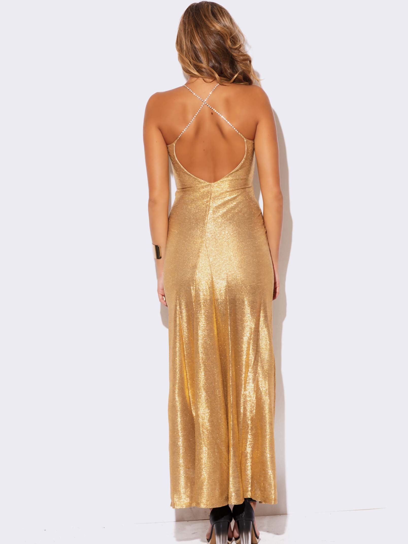 Gold Metallic Evening Dress Modishonline Com