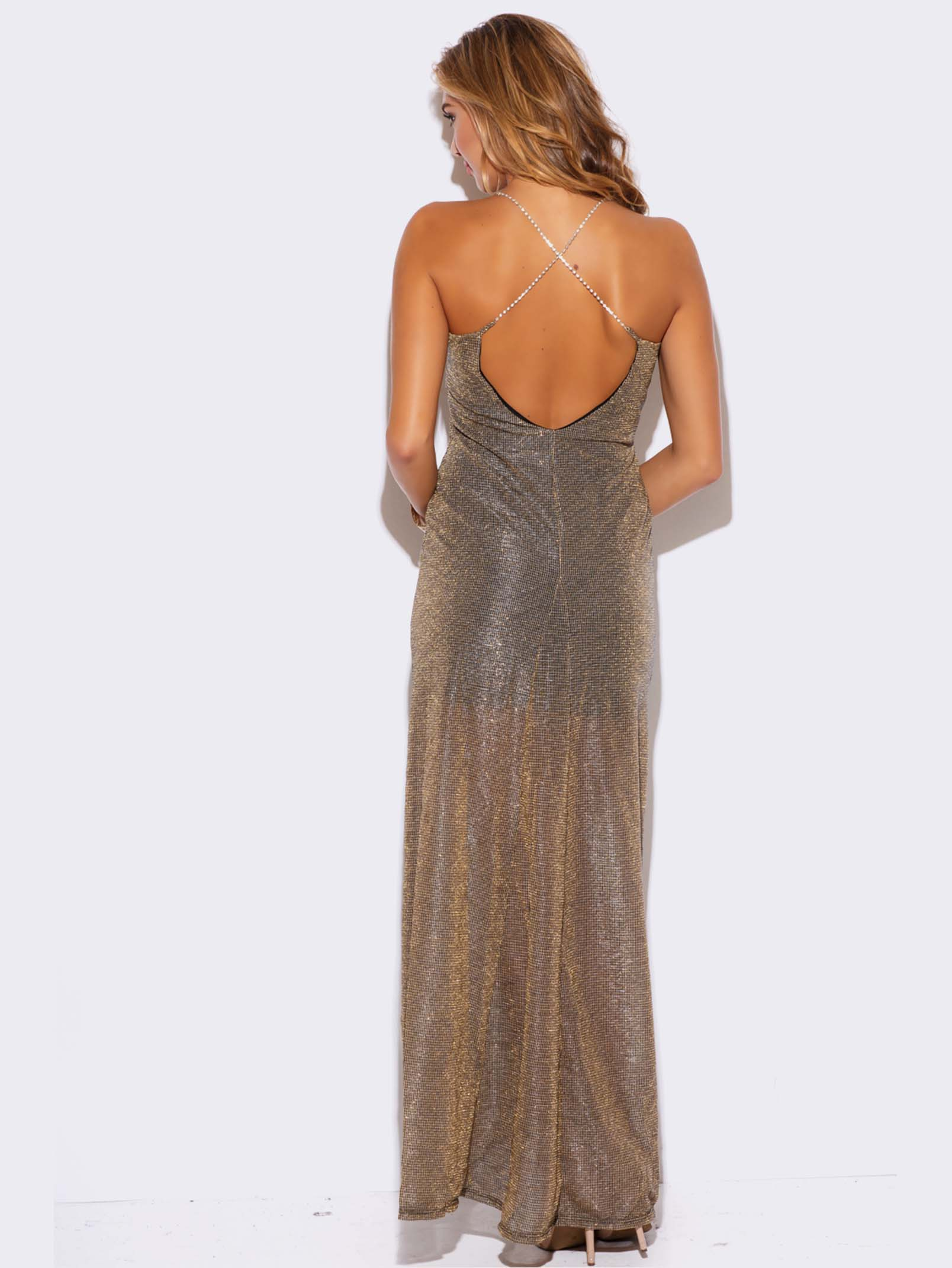 GOLD METALLIC MESH FORMAL DRESS