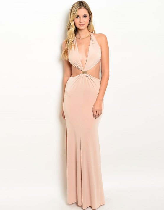 Camel Halter Neck Evening Gown