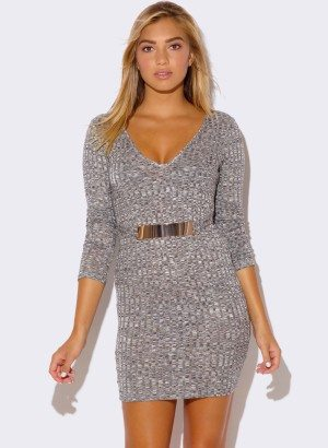 HEATHER GRAY LONG SLEEVE SWEATER DRESS