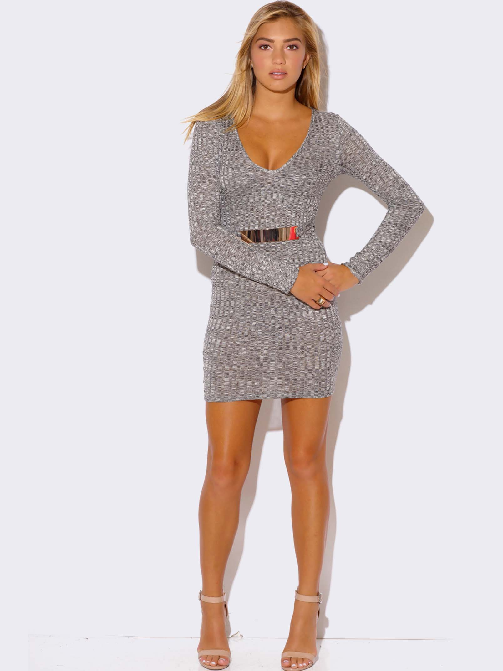 HEATHER GRAY LONG SLEEVE SWEATER DRESS - ModishOnline.com