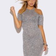 HEATHER GRAY COLD SHOULDER SWEATER DRESS