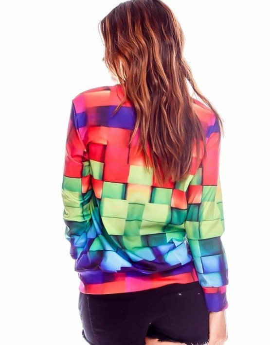 Multi Color Blocks Graphic Top