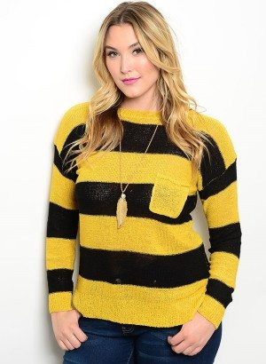 Mustard & Black Plus Size Sweater