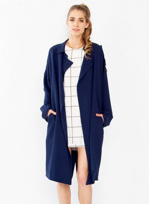 Navy Blue Over Sized Slouchy Trench Coat by Sugarlips
